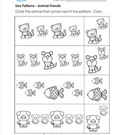Size Patterns - Animal Friends - Pattern Worksheets