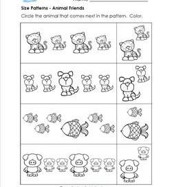 size patterns worksheets for kindergarten a wellspring