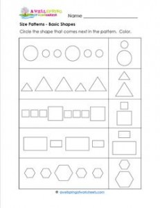 Size Patterns - Basic Shapes - Pattern Worksheets