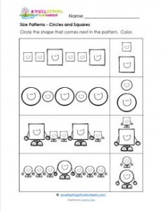 Size Patterns - Circles and Squares - Pattern Worksheets