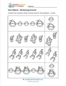 Size Patterns - Monkeying Around - Pattern Worksheets