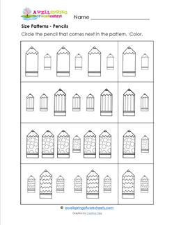 Size Patterns - Pencils - Pattern Worksheets