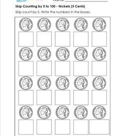 skip counting by 5 to 100 nickels