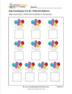 skip counting by 5 to 50 polka dot balloons