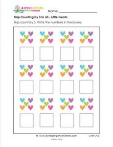 skip counting by 5 to 60 little hearts