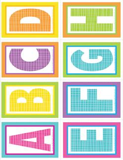small alphabet letters - plaid and polka dot - ABCDEFGH