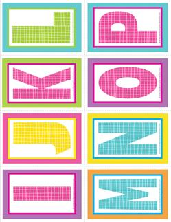 small alphabet letters - plaid and polka dot - IJKLMNOP