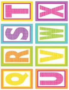 small alphabet letters - plaid and polka dot - QRSTUVWX