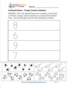 Sorting Numbers - Creepy Crawly Creatures - Kindergarten Sorting Worksheets
