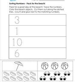 Sorting Numbers - Pack for the Beach! - Kindergarten Sorting Worksheets