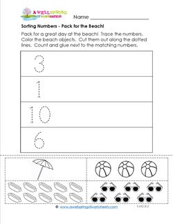 Sorting Numbers - Pack for the Beach! - Kindergarten Sorting Worksheets