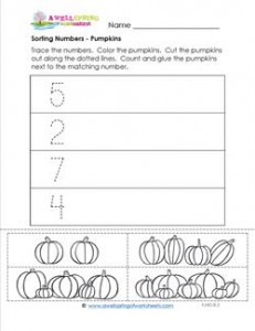 Sorting Numbers - Pumpkins - Kindergarten Sorting Worksheets