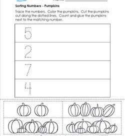 Sorting Numbers - Pumpkins - Kindergarten Sorting Worksheets