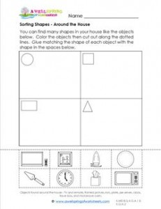 Sorting Shapes - Around the House - Kindergarten Geometry