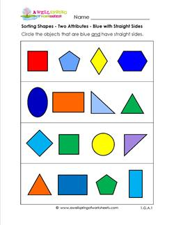 Sorting Shapes - Two Attributes - Blue with Straight Sides