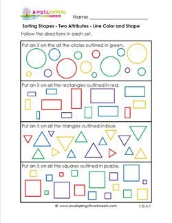sorting shapes two attributes line color and shape a