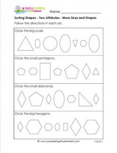 Sorting Shapes - Two Attributes - More Sizes and Shapes