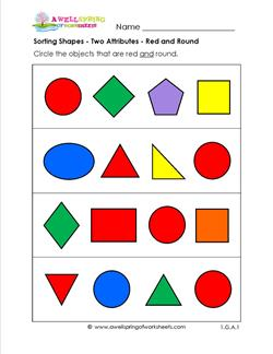 Sorting Shapes - Two Attributes - Red and Round
