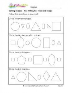 Sorting Shapes - Two Attributes - Size and Shape