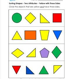 Sorting Shapes - Two Attributes - Yellow with Three Sides