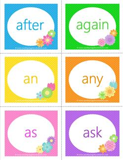 dolch sight word flashcards first grade