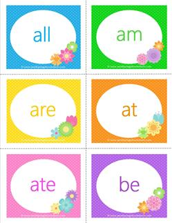 spring dolch sight word flashcards primer