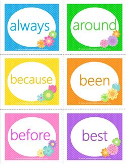 dolch sight word falshcards second grade