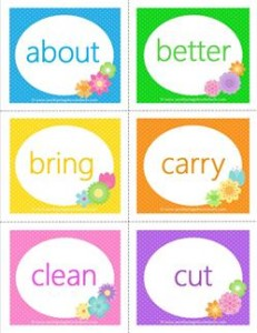 spring dolch sight word flashcards third grade