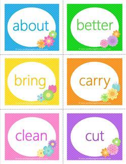 spring dolch sight word flashcards third grade