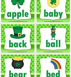 st patricks day dolch sight word flashcards nouns