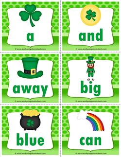 st patricks day dolch sight word flashcards pre-primer