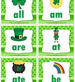 st patricks day dolch sight word flashcards primer