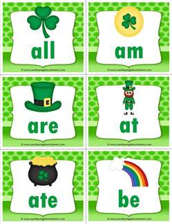 st patricks day dolch sight word flashcards primer