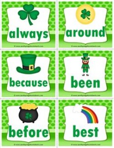 st patricks day dolch sight word flashcards