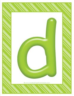 stripes and candy colorful letters lowercase d