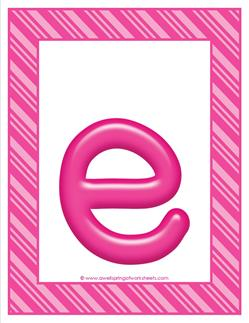 stripes and candy colorful letters lowercase e