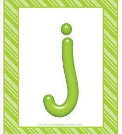 stripes and candy colorful letters lowercase j