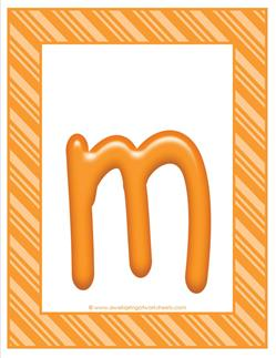 stripes and candy colorful letters lowercase m