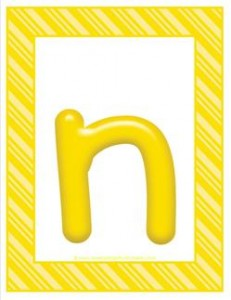 stripes and candy colorful letters lowercase n