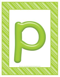 stripes and candy colorful letters lowercase p