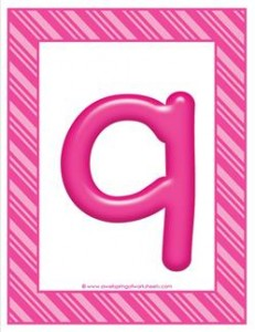 stripes and candy colorful letters lowercase q