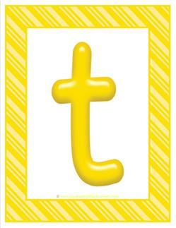 stripes and candy colorful letters lowercase t