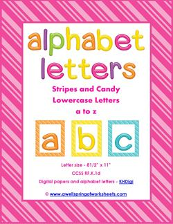 stripes and candy colorful letters lowercase whole set