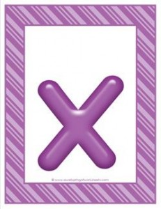 stripes and candy colorful letters lowercase x