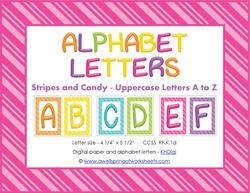 stripes and candy colorful letters uppercase AB whole set