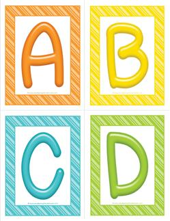 stripes and candy colorful letters - uppercase ABCD