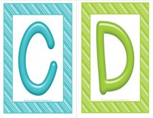 stripes and candy colorful letters - uppercase CD