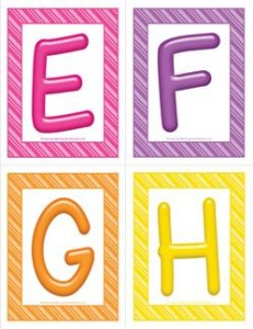 stripes and candy colorful letters - uppercase EFGH