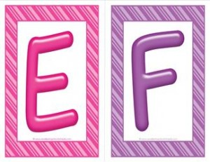 stripes and candy colorful letters - uppercase EF