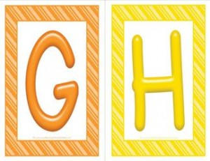 stripes and candy colorful letters - uppercase GH